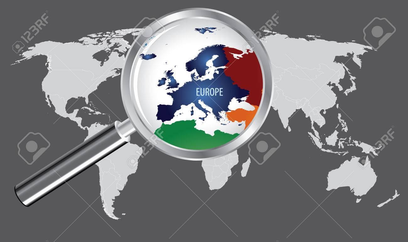 World Map with magnifier - Europe - 64685713