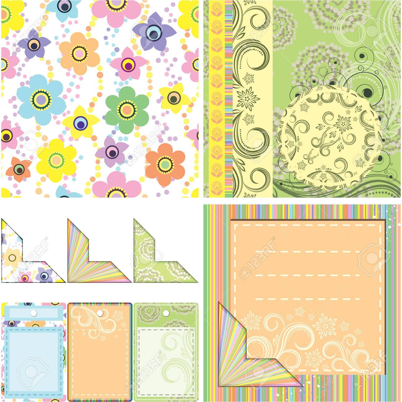 Set of backgrounds and elements for scrapbooking Stock Vector - 6519994