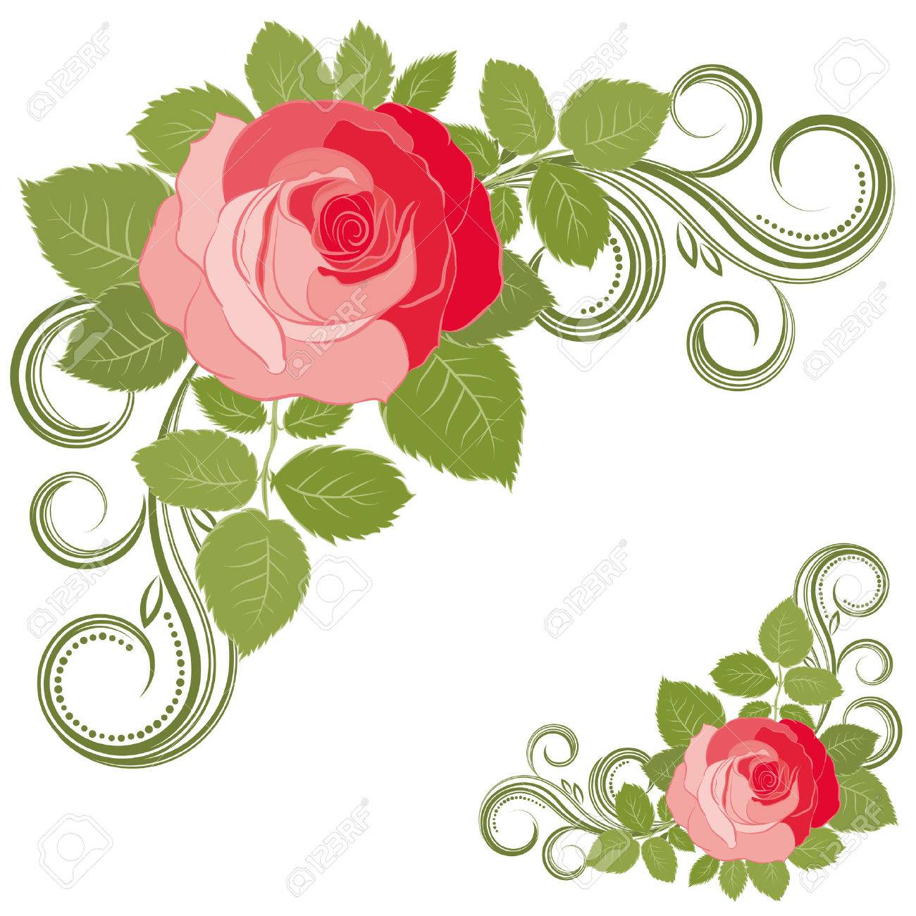 Rose and curls. Stock Vector - 6924573