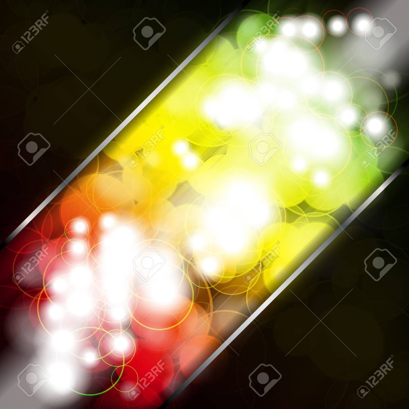 Multicolored transparent circles on a dark background. Stock Vector - 8080733