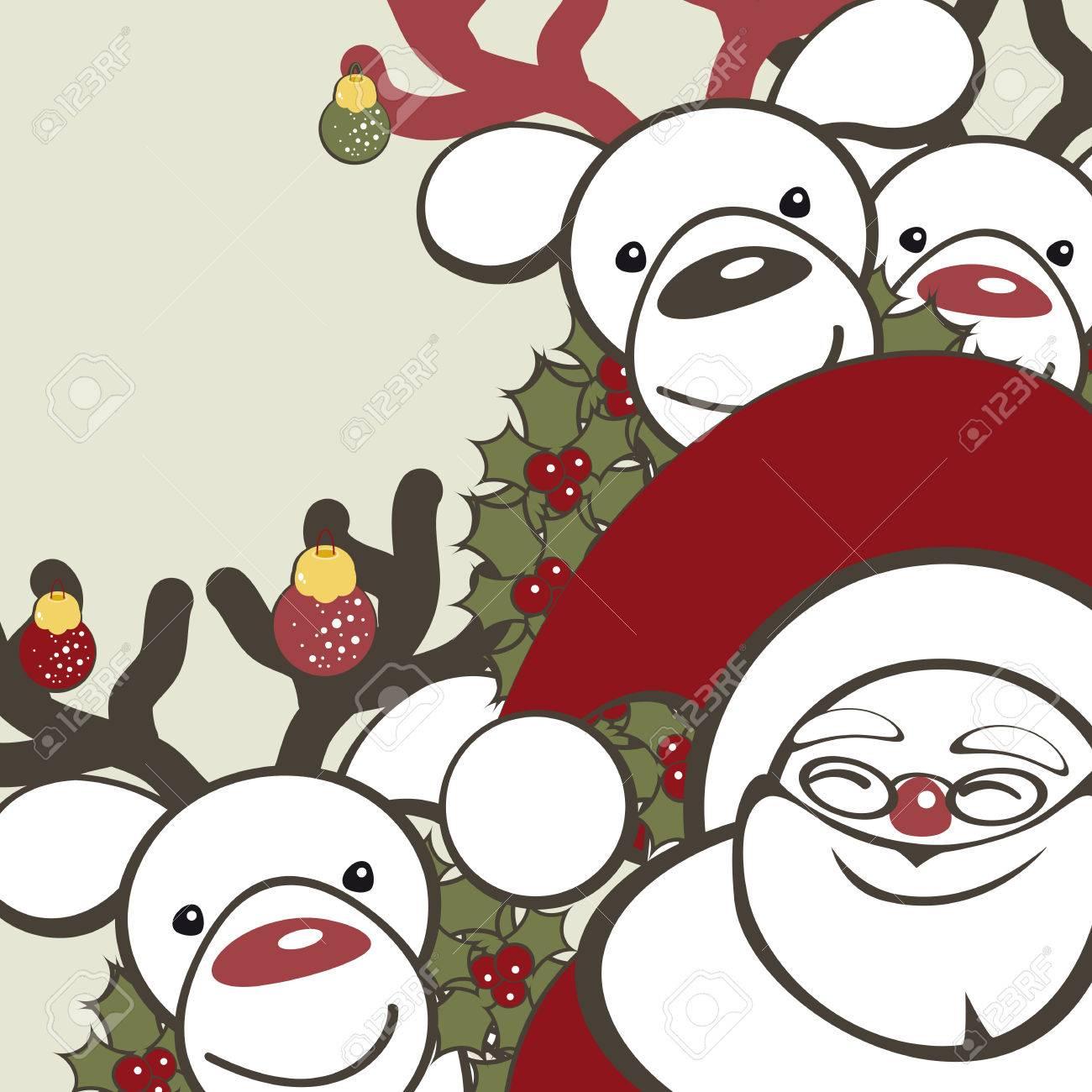Sfondi Natalizi Renne.Vettoriale Sfondo Natale Con Le Renne Divertente E Babbo Natale