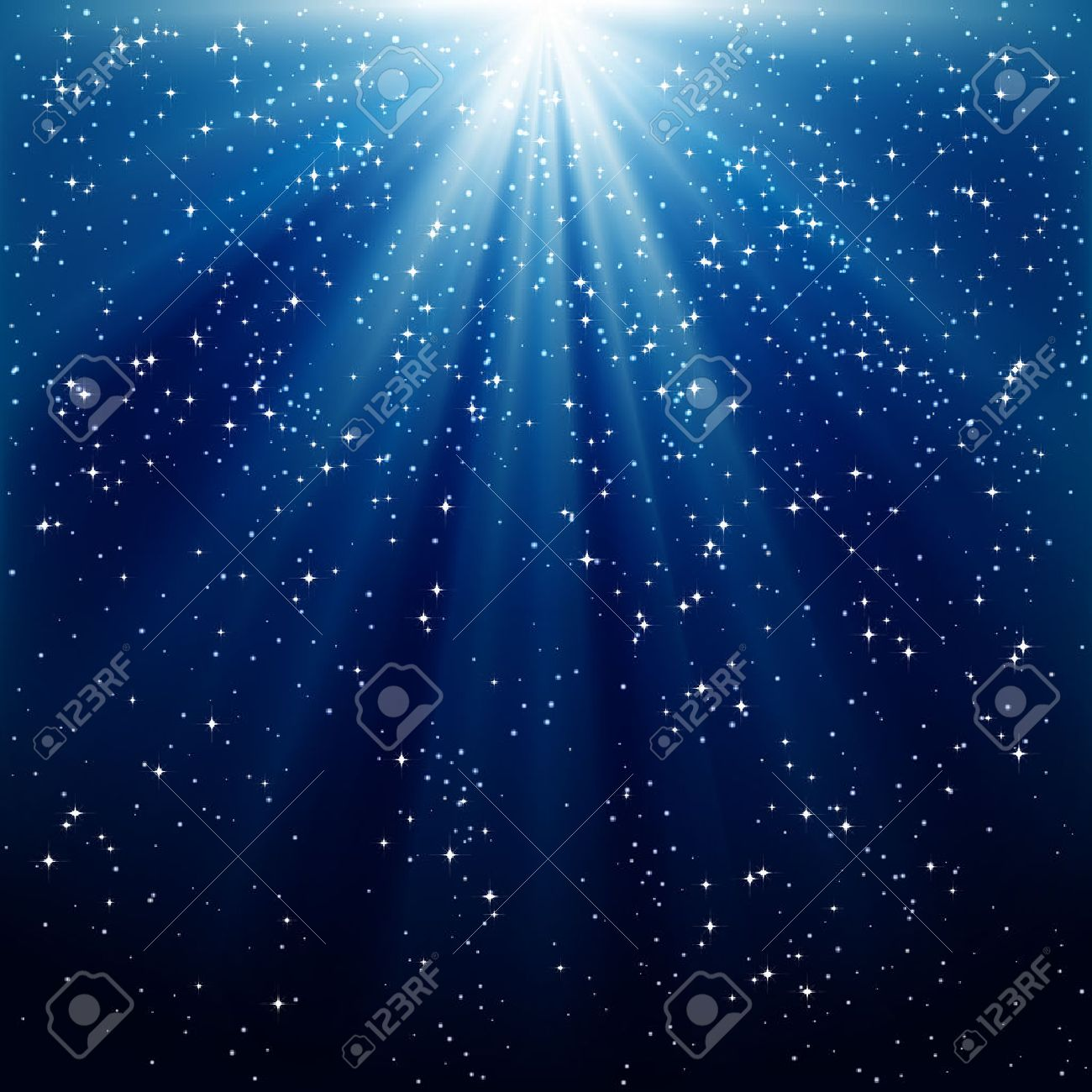 Snow and stars are falling on the background of blue luminous rays Stock Vector - 8353073