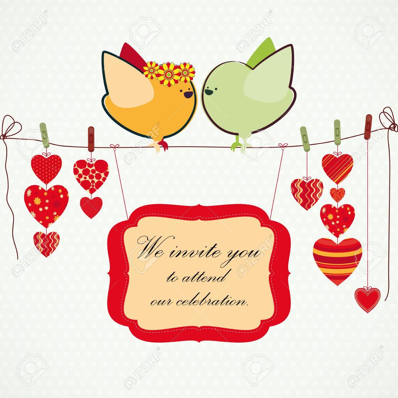 Einladung Hintergrund Paar Birdies Herzen Auf Die Bejahrt Bilder