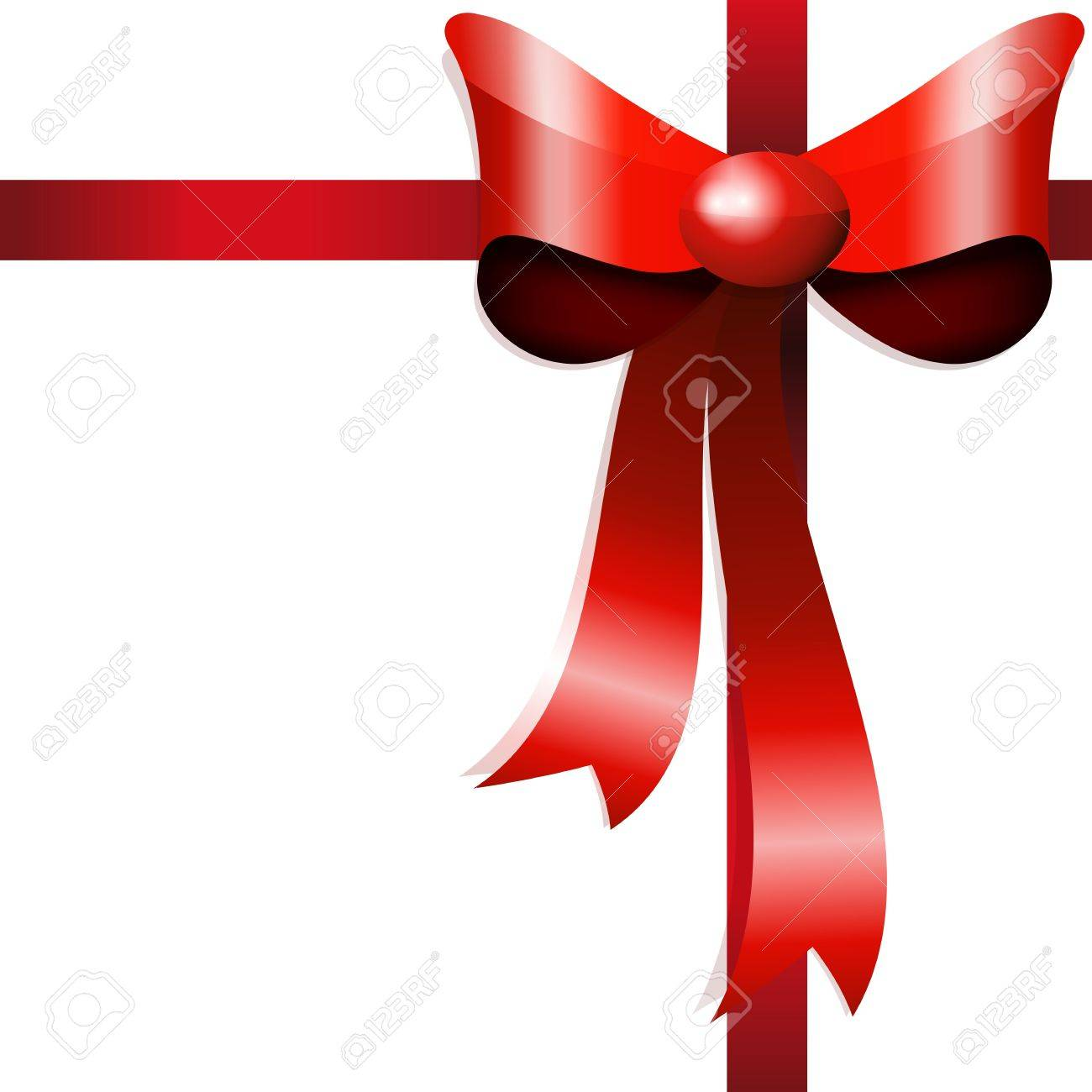 Red gift bow with ribbons. Vector Stock Vector - 9250909