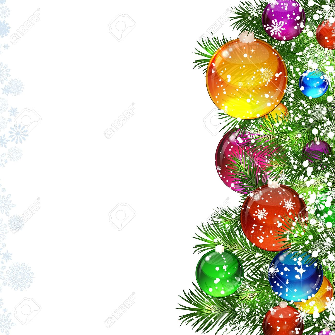 Christmas background with snow-covered Christmas tree decorated with glass balloons Stock Vector - 9362793