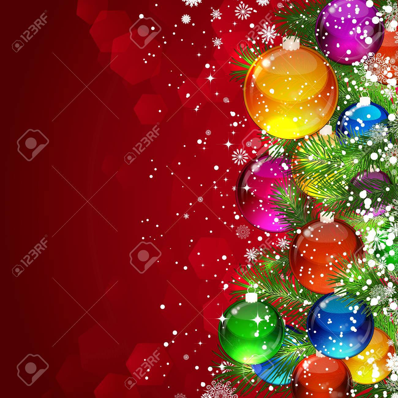 Christmas background with snow-covered Christmas tree decorated with glass balls Stock Vector - 9542217
