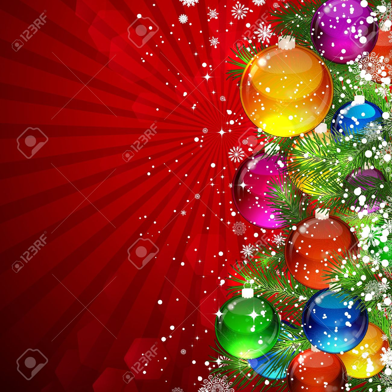 Christmas background with snow-covered Christmas tree decorated with glass balls Stock Vector - 9721861