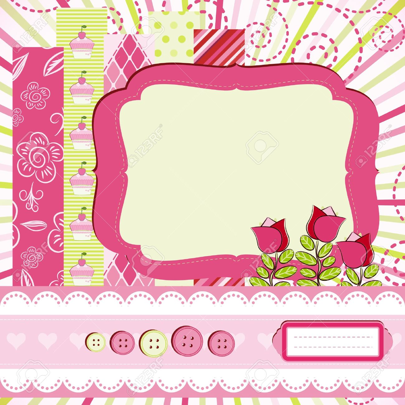 baby girl scrap background royalty free cliparts vectors and