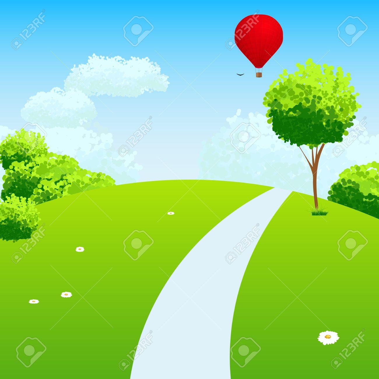 verde paisaje con rboles nubes flores y globos foto de archivo