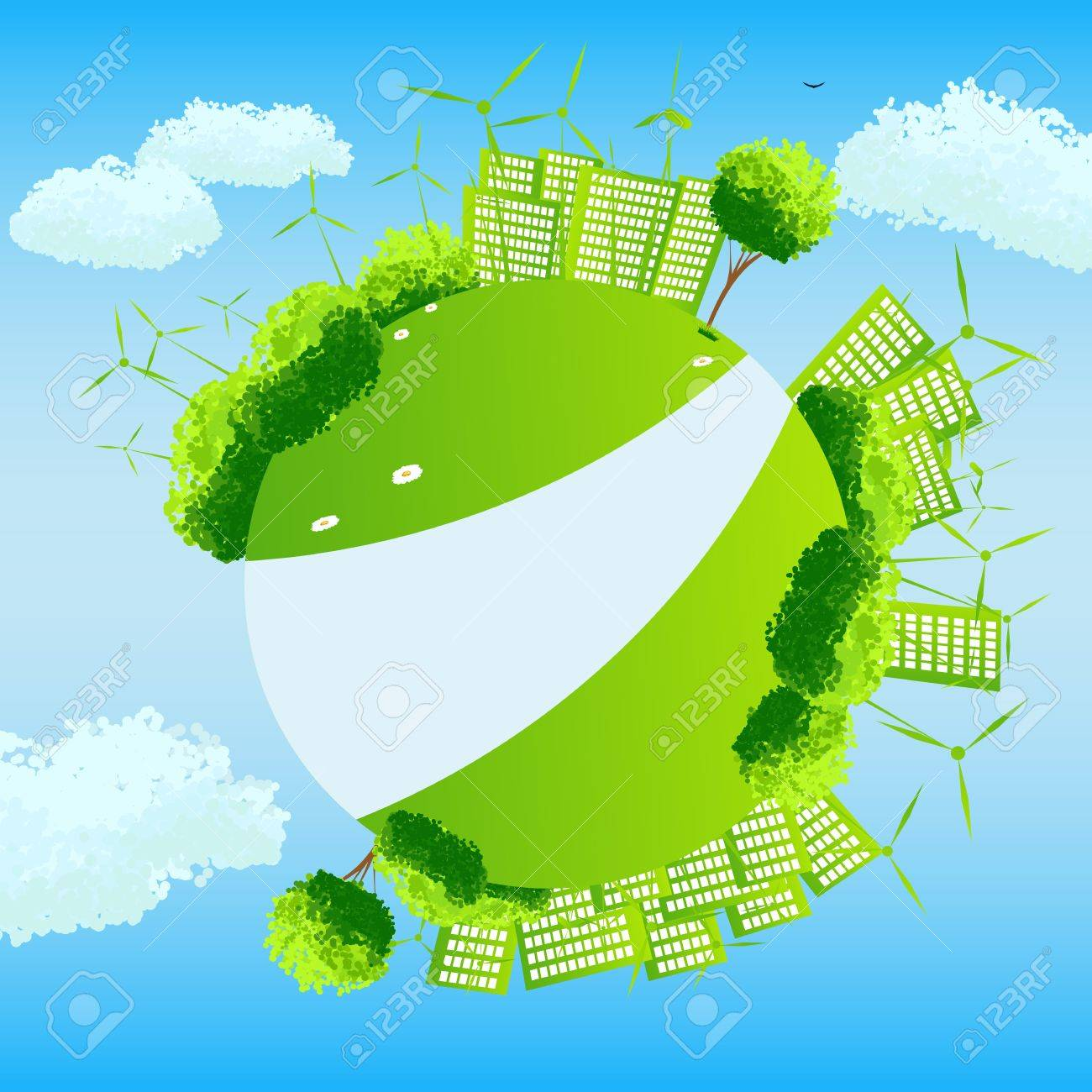 Green globe with trees, sities and wind turbines. Stock Vector - 10319494