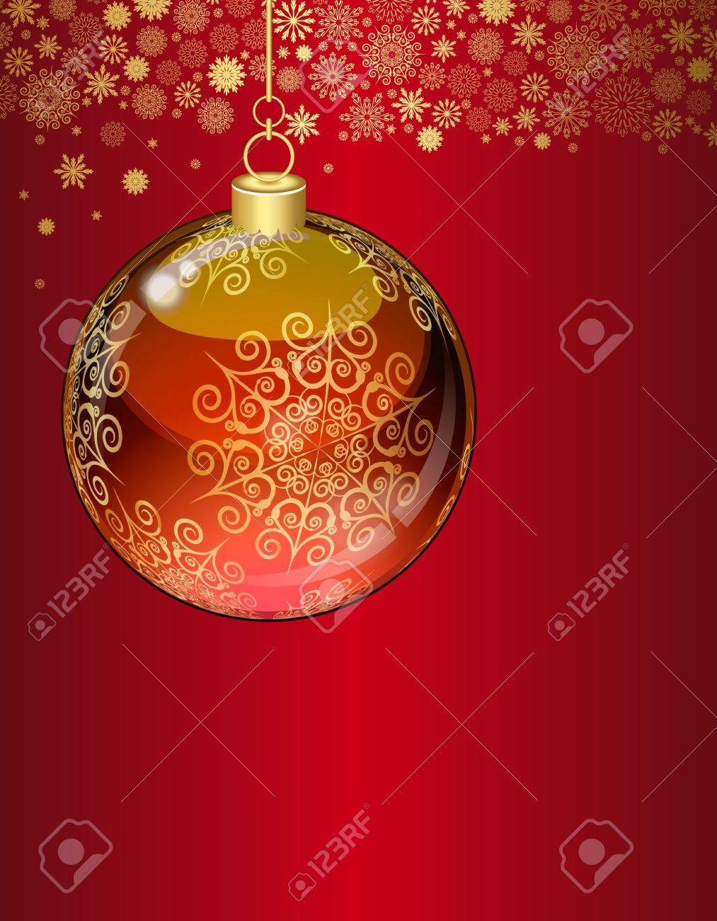 Christmas balls on abstract red background. Stock Vector - 11657082