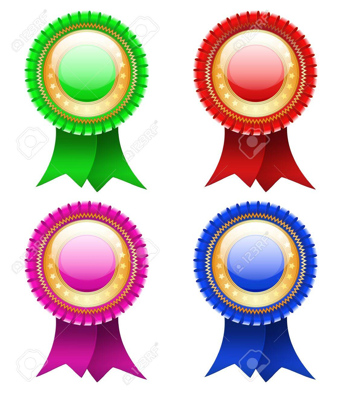 Best red labels with ribbons. Vector. Stock Vector - 12944175
