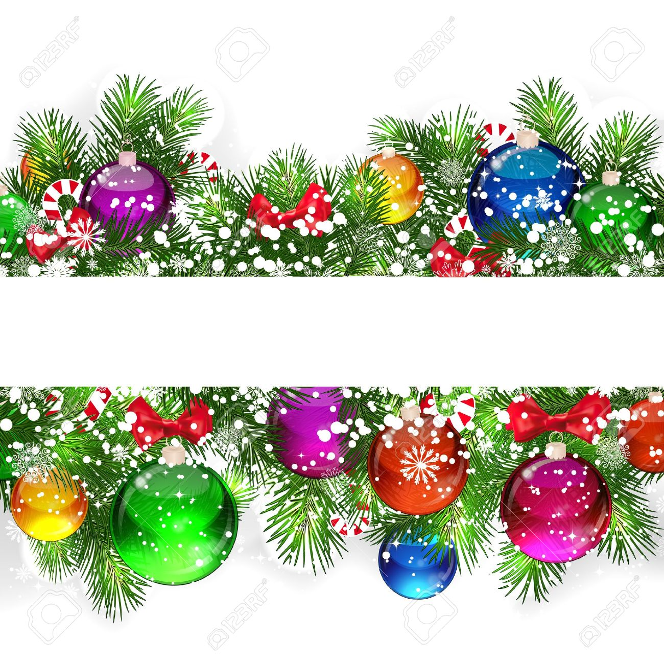 Christmas background with snow-covered branches of Christmas tree, decorated with candies and balloons. Stock Vector - 15405954