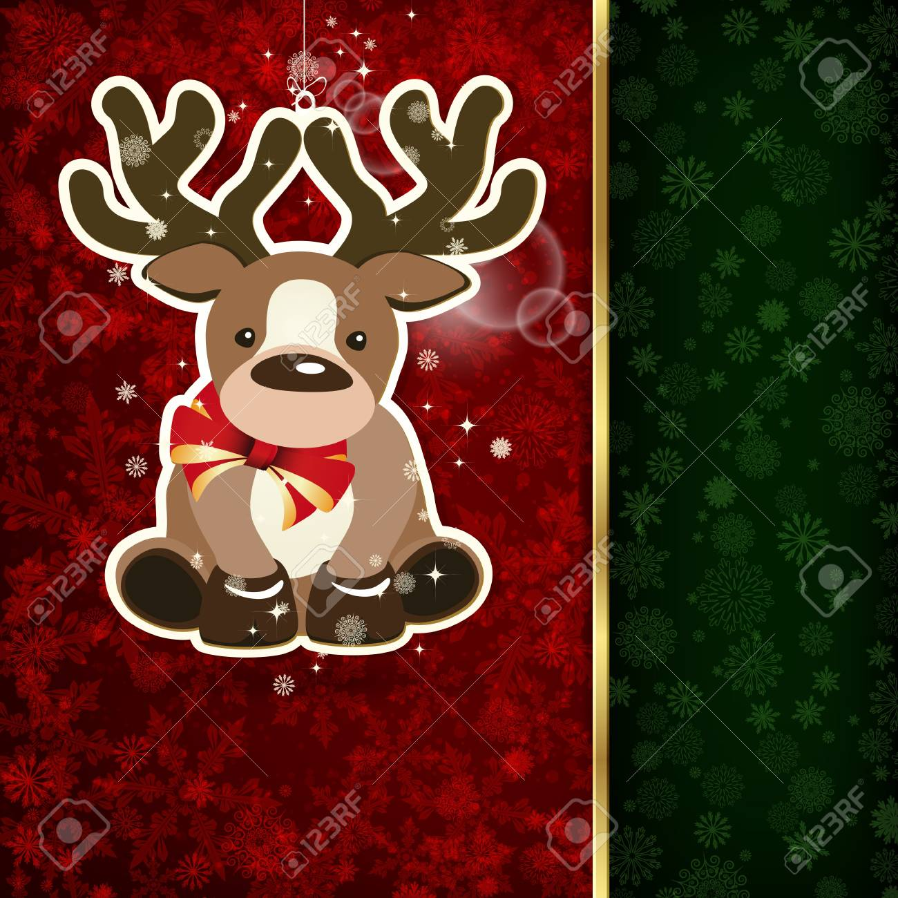Background with Christmas decoration and snowflakes, illustration. Stock Vector - 15972118
