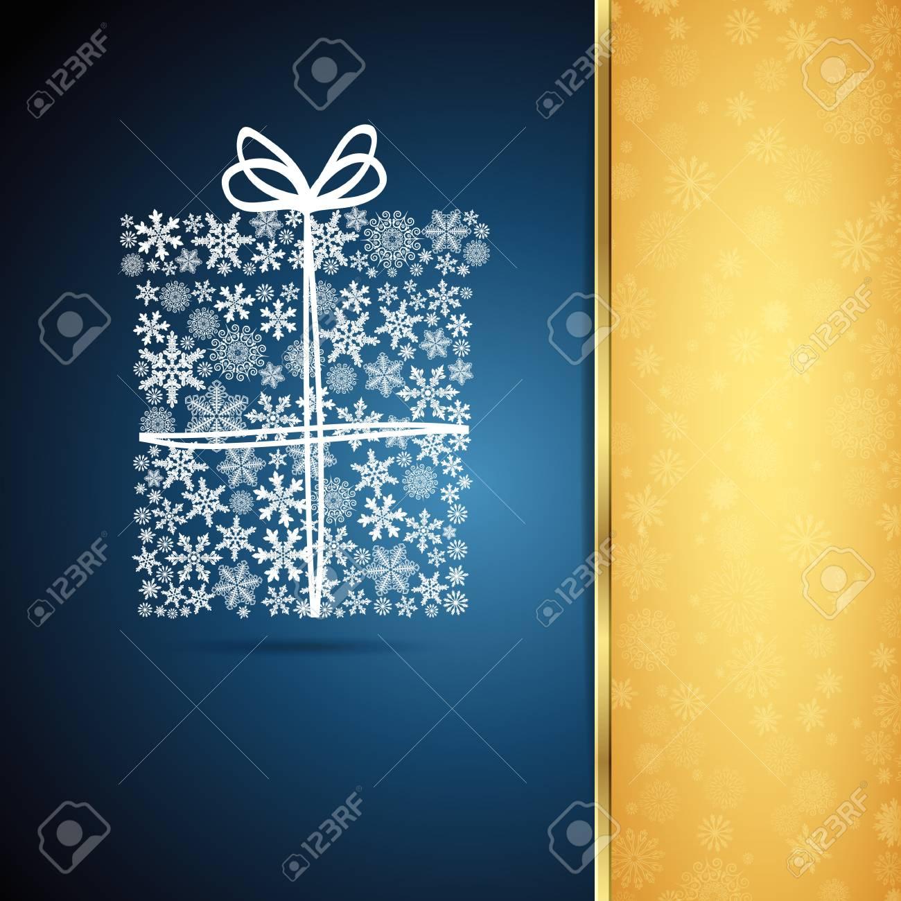 Christmas gift box, snowflake design background. Stock Vector - 16374022
