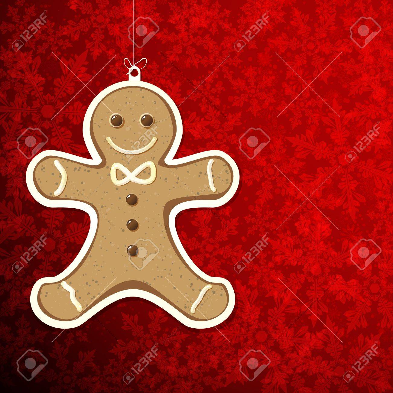 Christmas background with gingerbread man. Stock Vector - 16374067