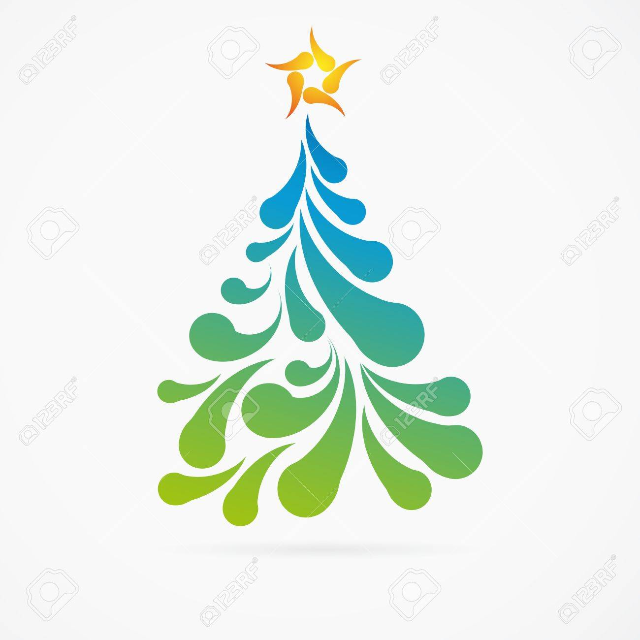 Christmas tree made of colorful arc drops. Decorative background. Stock Vector - 16594521