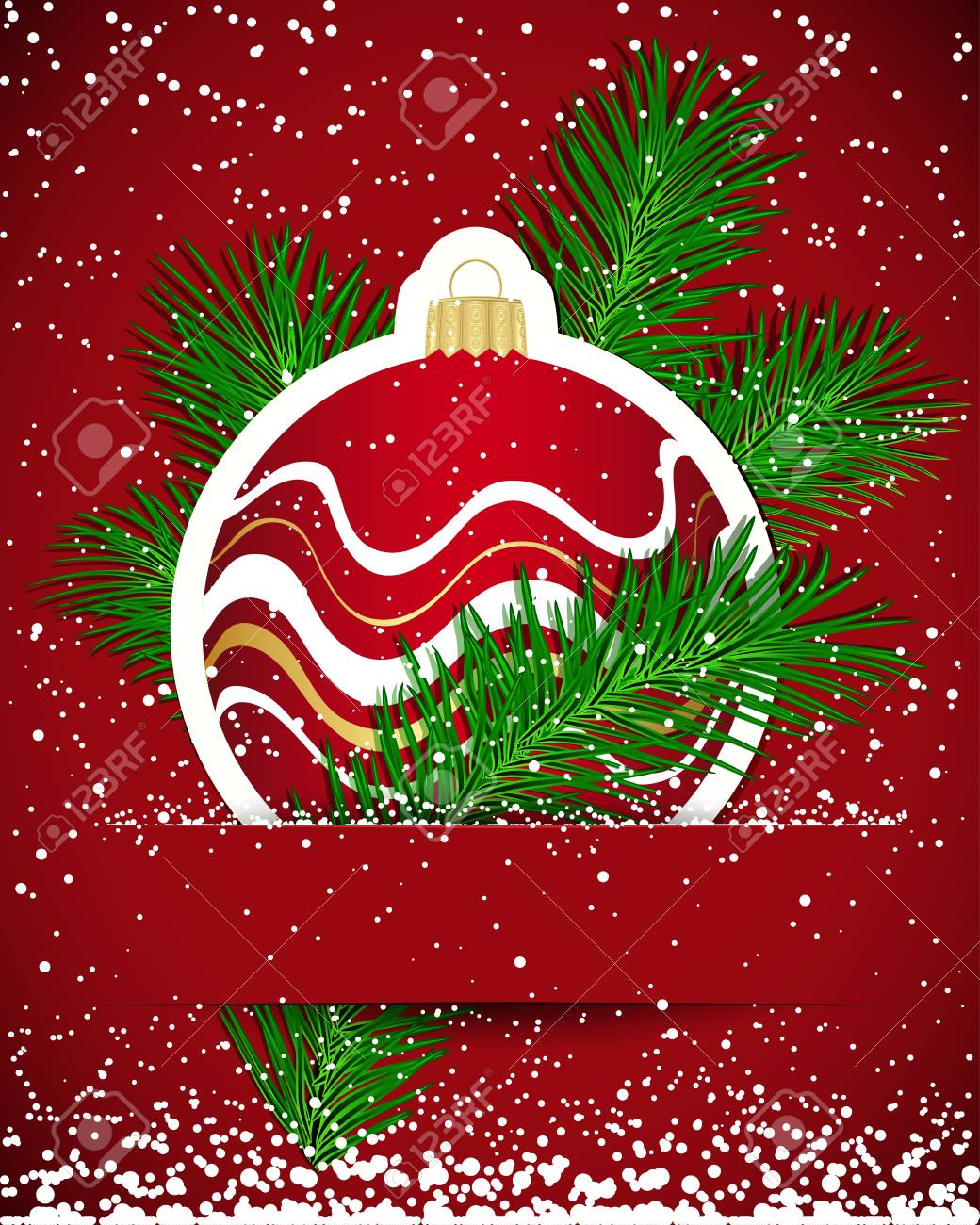 Christmas background. Wicker ball and tree branch inserted into a slot on the paper card. Stock Vector - 17566965