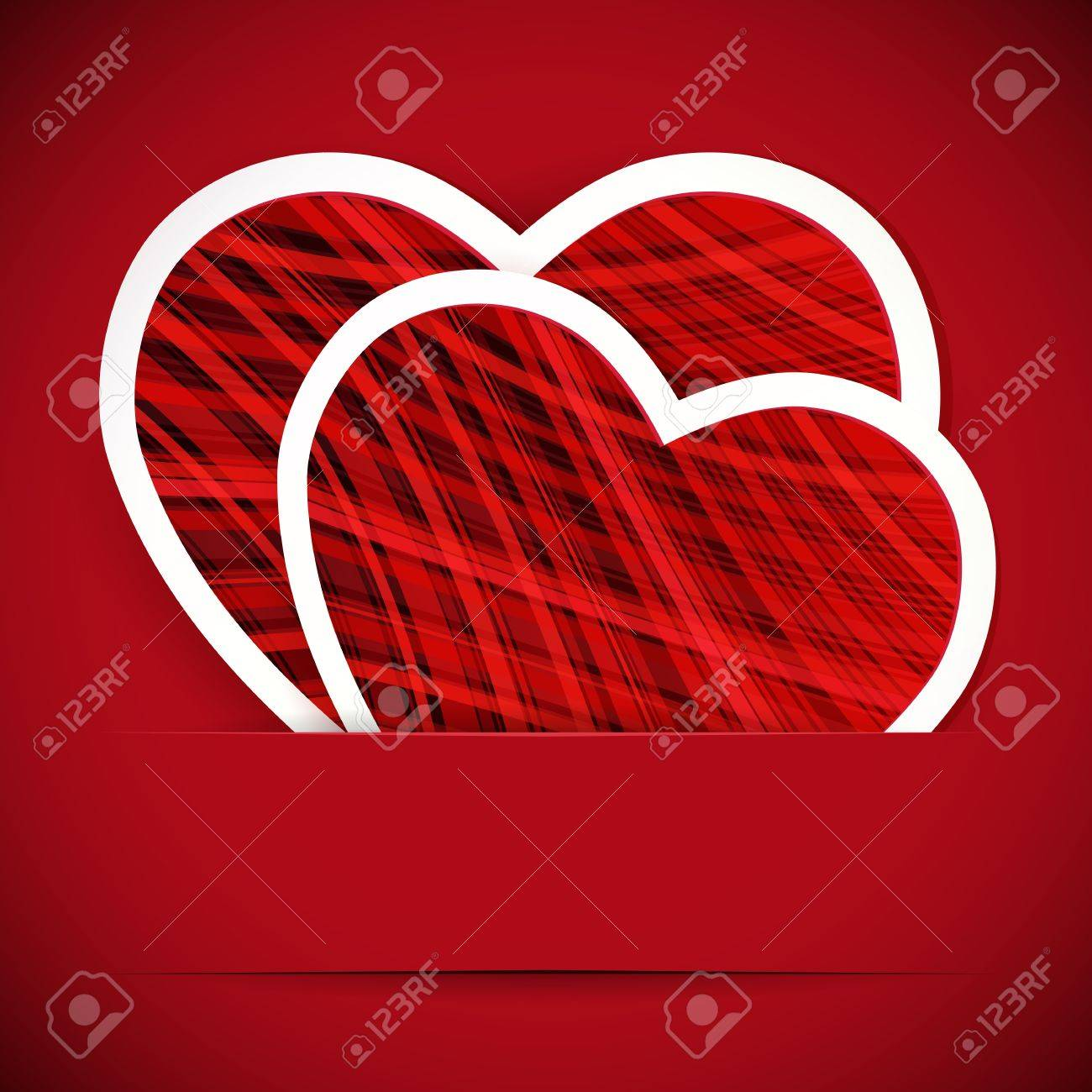 Two paper heartes postcard. Valentine's day vector background. Stock Vector - 17660237