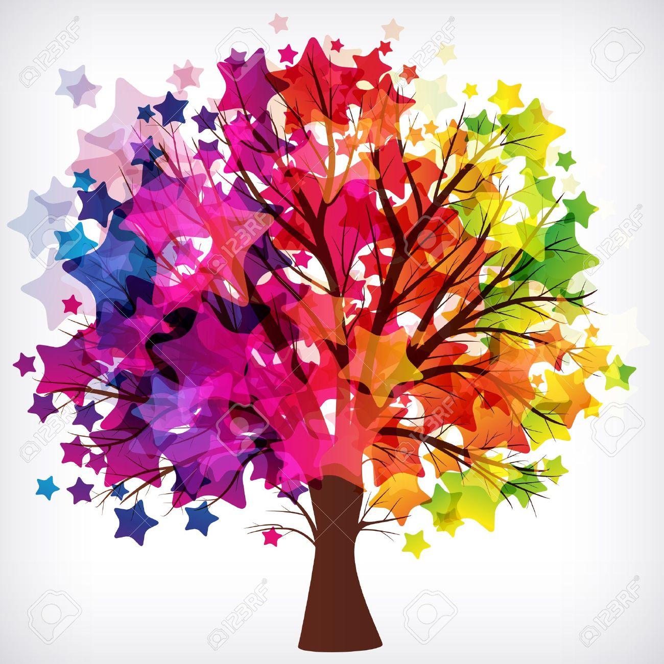 Resumen De Antecedentes árbol Con Ramas Hechas De Estrellas De