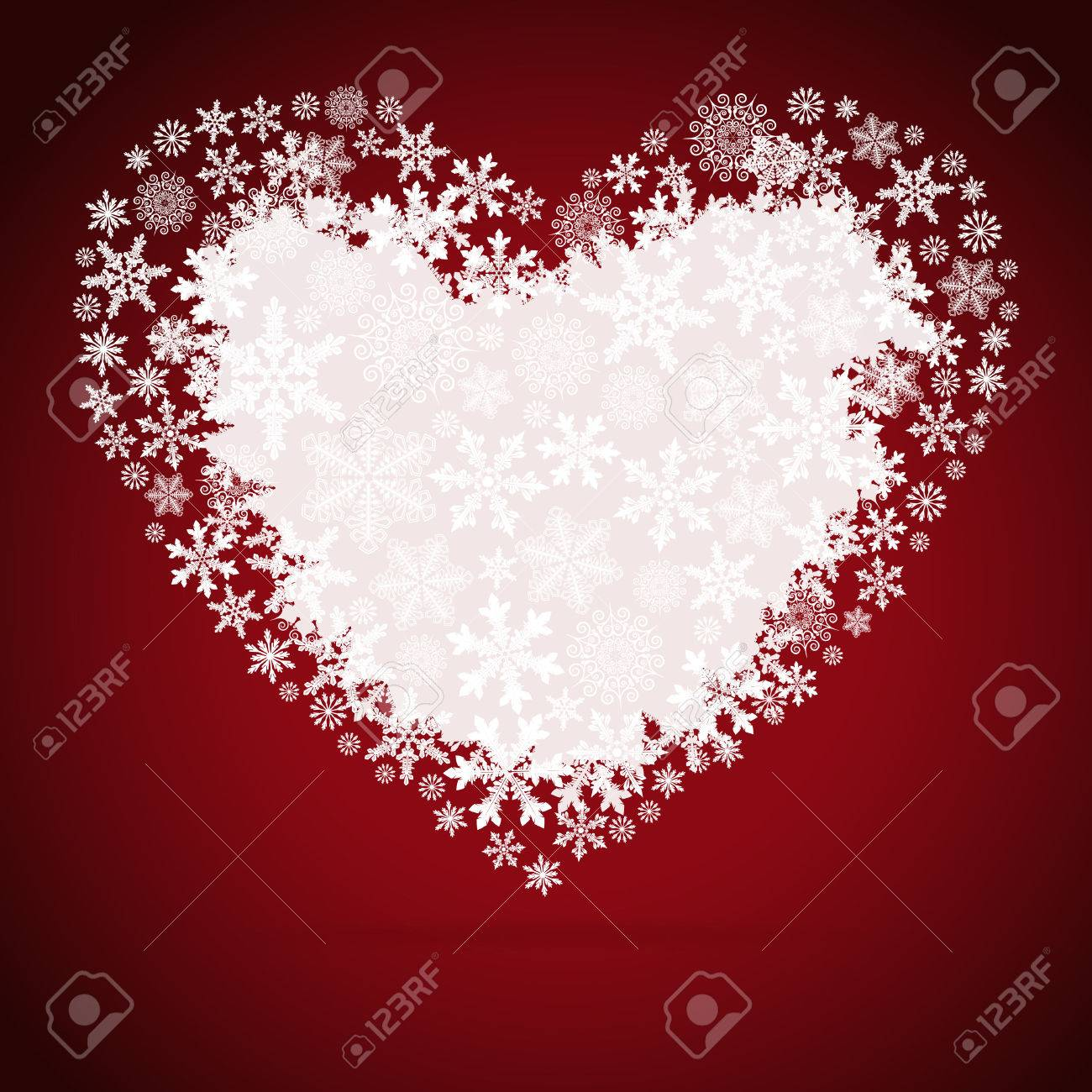 Christmas Heart.Christmas Heart Snowflake Design Background