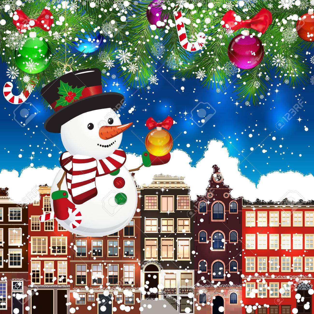 Weihnachten Schneemann Auf Dem Hintergrund Der Schneebedeckten ...