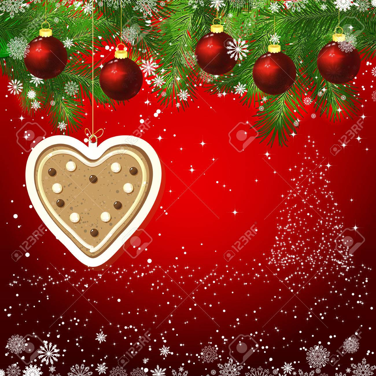 gingerbread heart new year design background template card whit red christmas balls on the green