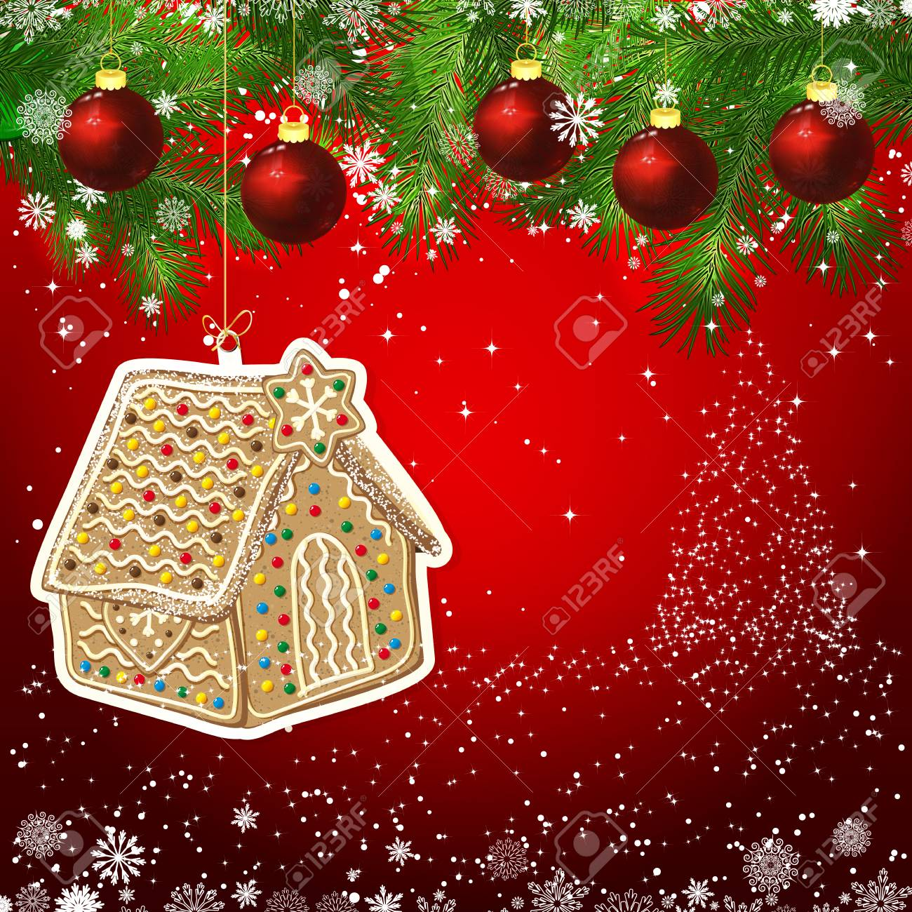 gingerbread new year design background template card whit red christmas balls on the green branches