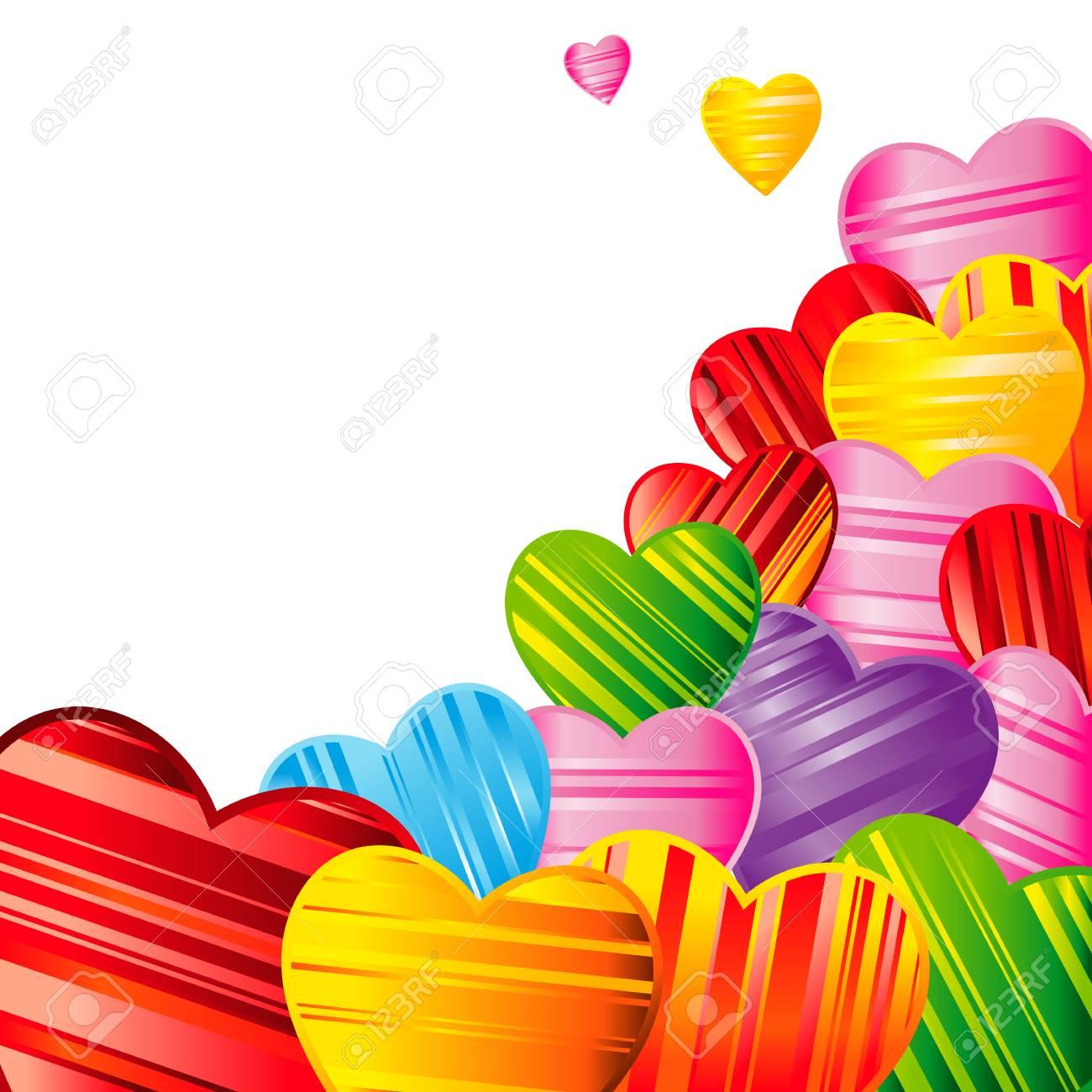 縞模様の心、デザイン イラスト ベクトル バレンタインデーの背景