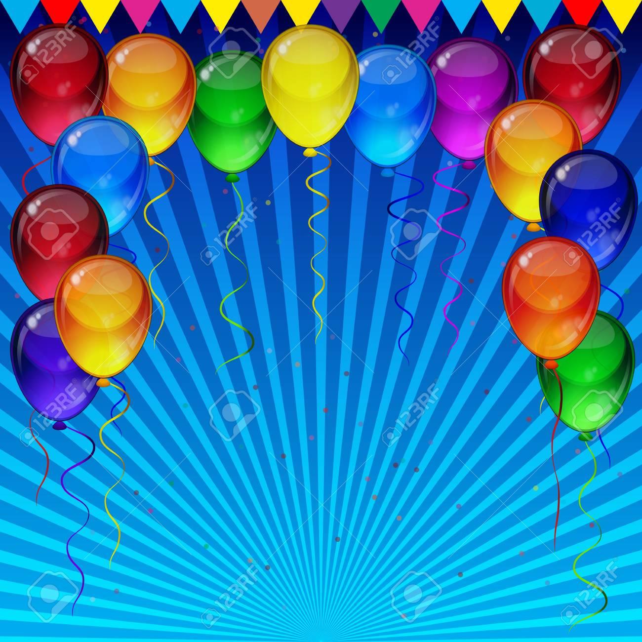Fond D Ecran De Fete D Anniversaire Ballons De Fete Colores Confettis Rubans Volant Pour La Carte Des Celebrations En Fond Bleu Avec De L Espace Pour Votre Texte Clip Art Libres De Droits