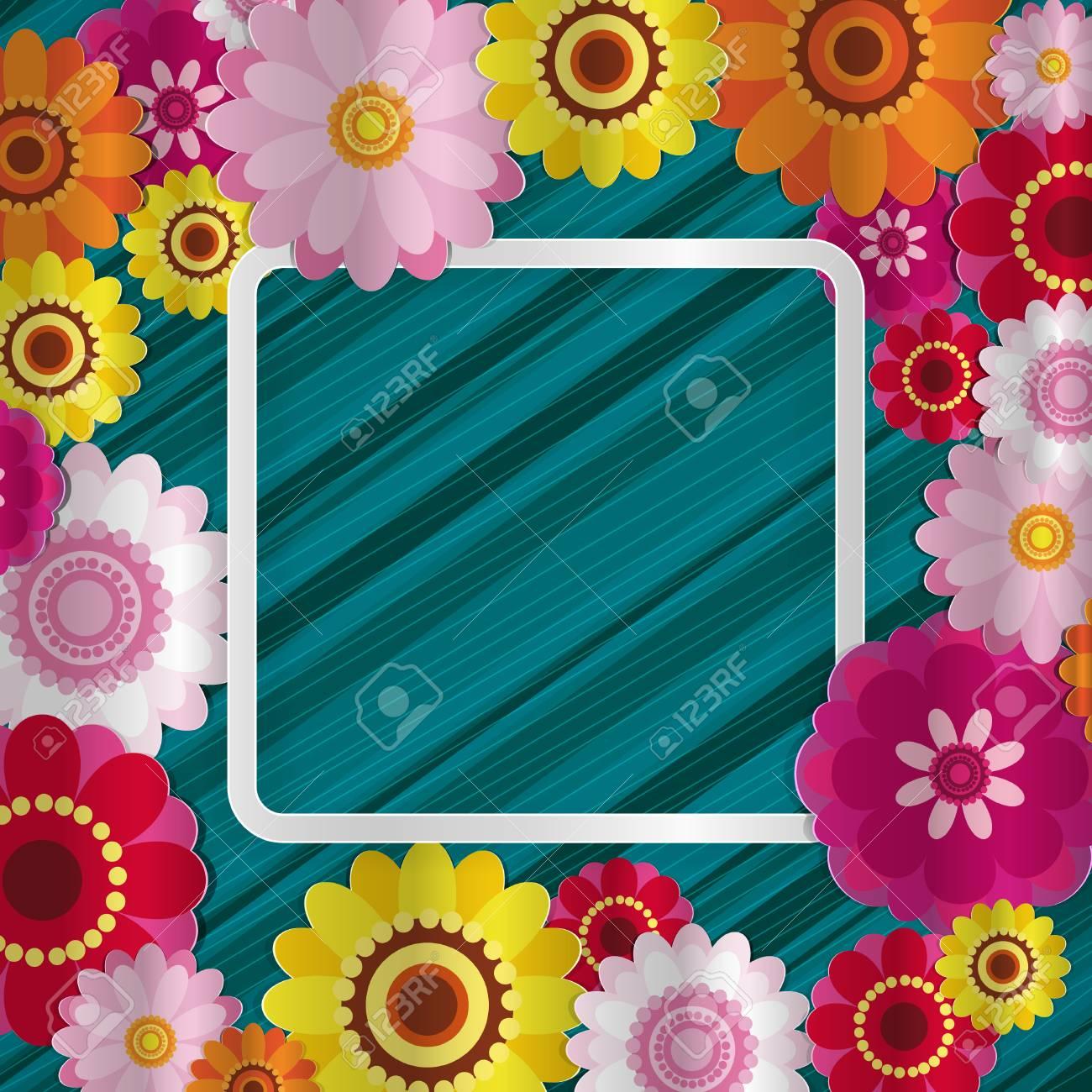 Frühling Gratulieren Floralen Hintergrund. Festliche Papier Blumen ...