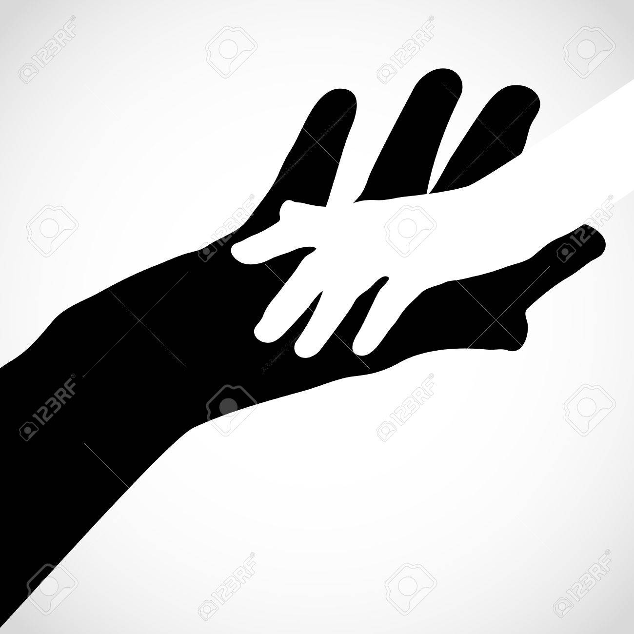 Black color big hand and white small hand vector concept help symbol hands vector support