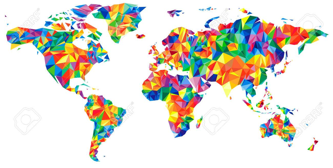 Abstract Continents World Map From Triangles Origami Style