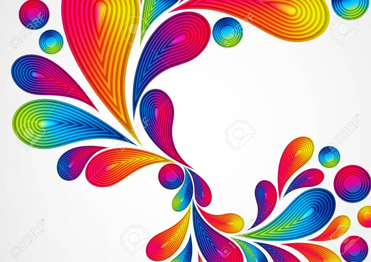 Colorful Abstract Background With Striped Drops Splash Vector