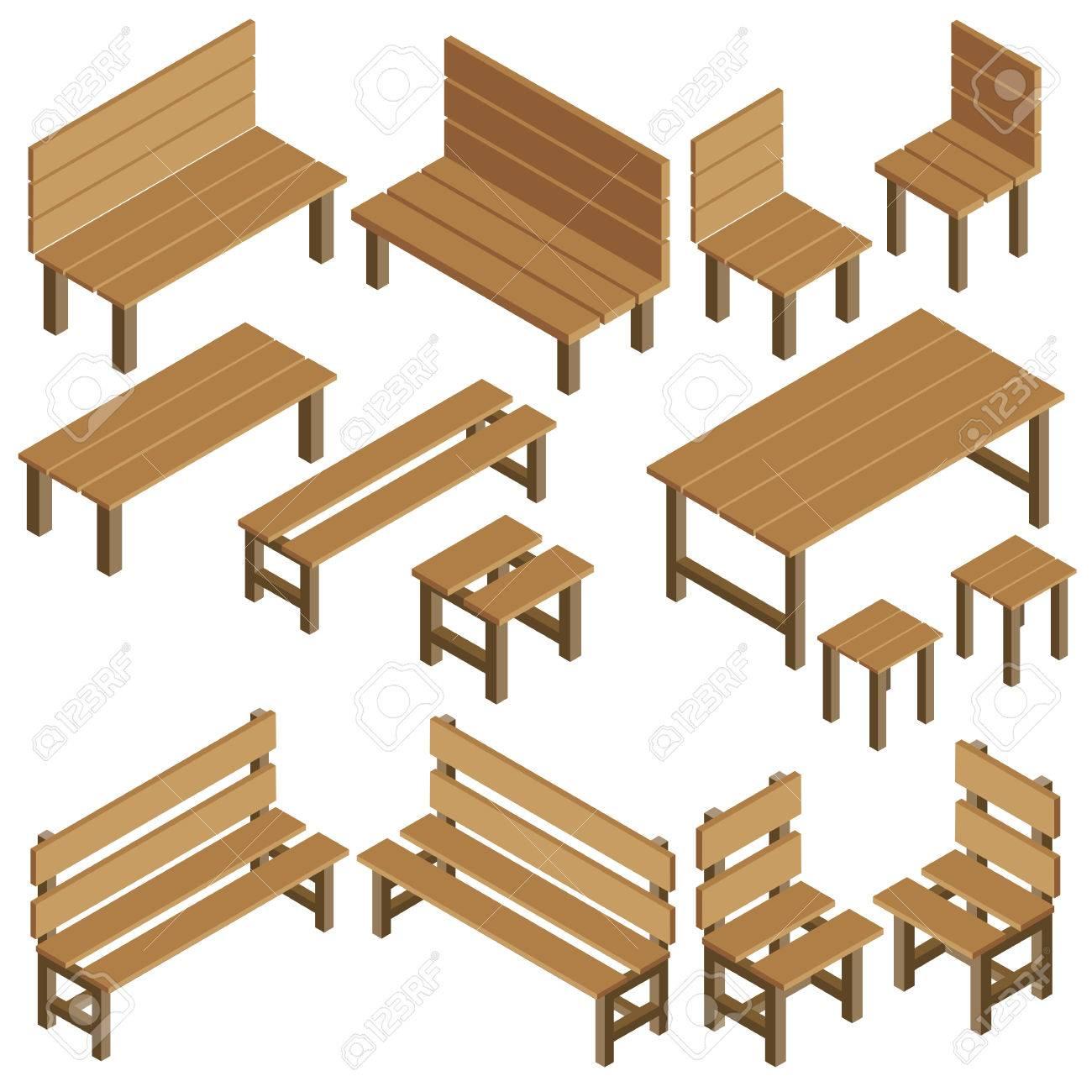 Muebles De Jardín Vectorial Isométrico Para Parque, Ciudad ...