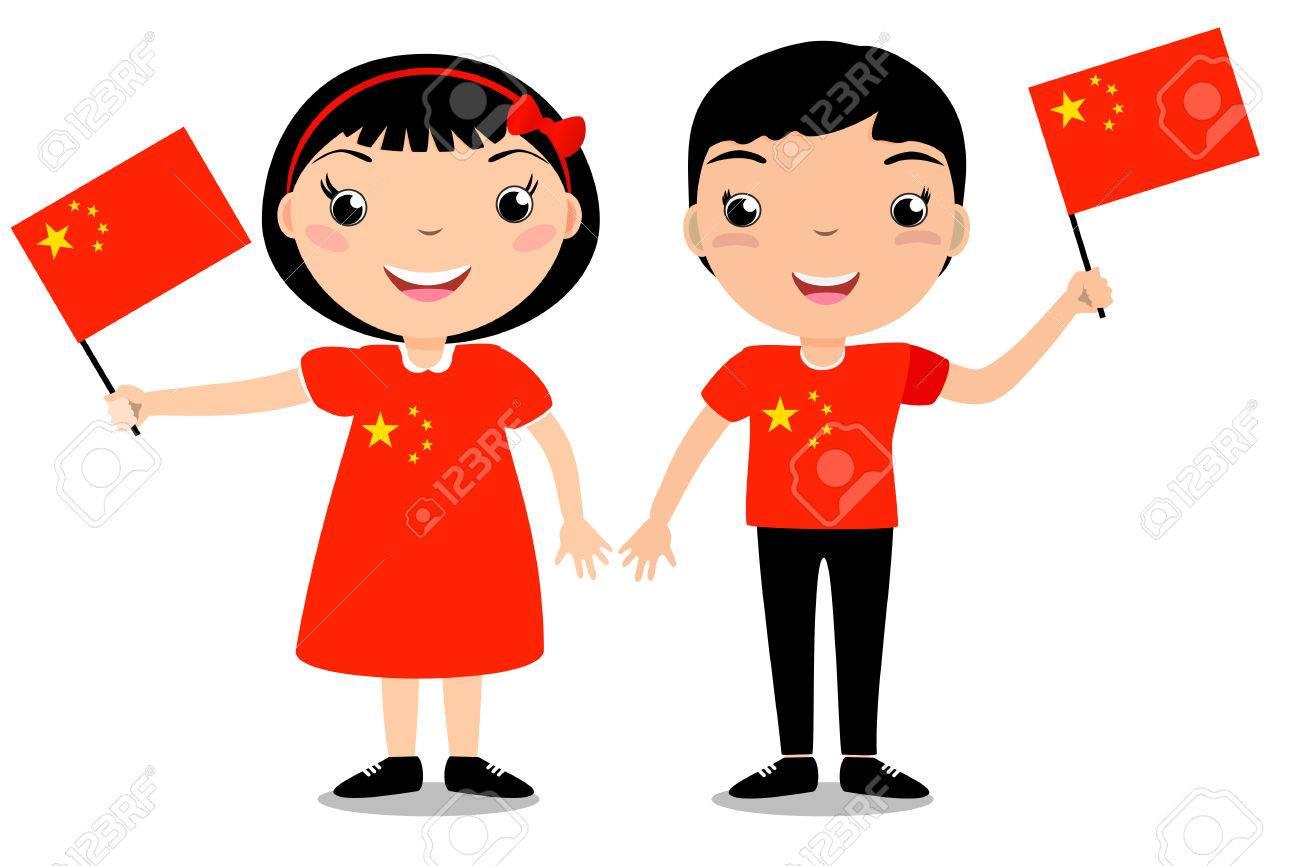 Enfants Souriants Garçon Et Fille Tenant Un Drapeau Chinois Isolé Sur Fond Blanc Mascotte De Dessins Animés Vectoriels Illustration De Vacances à