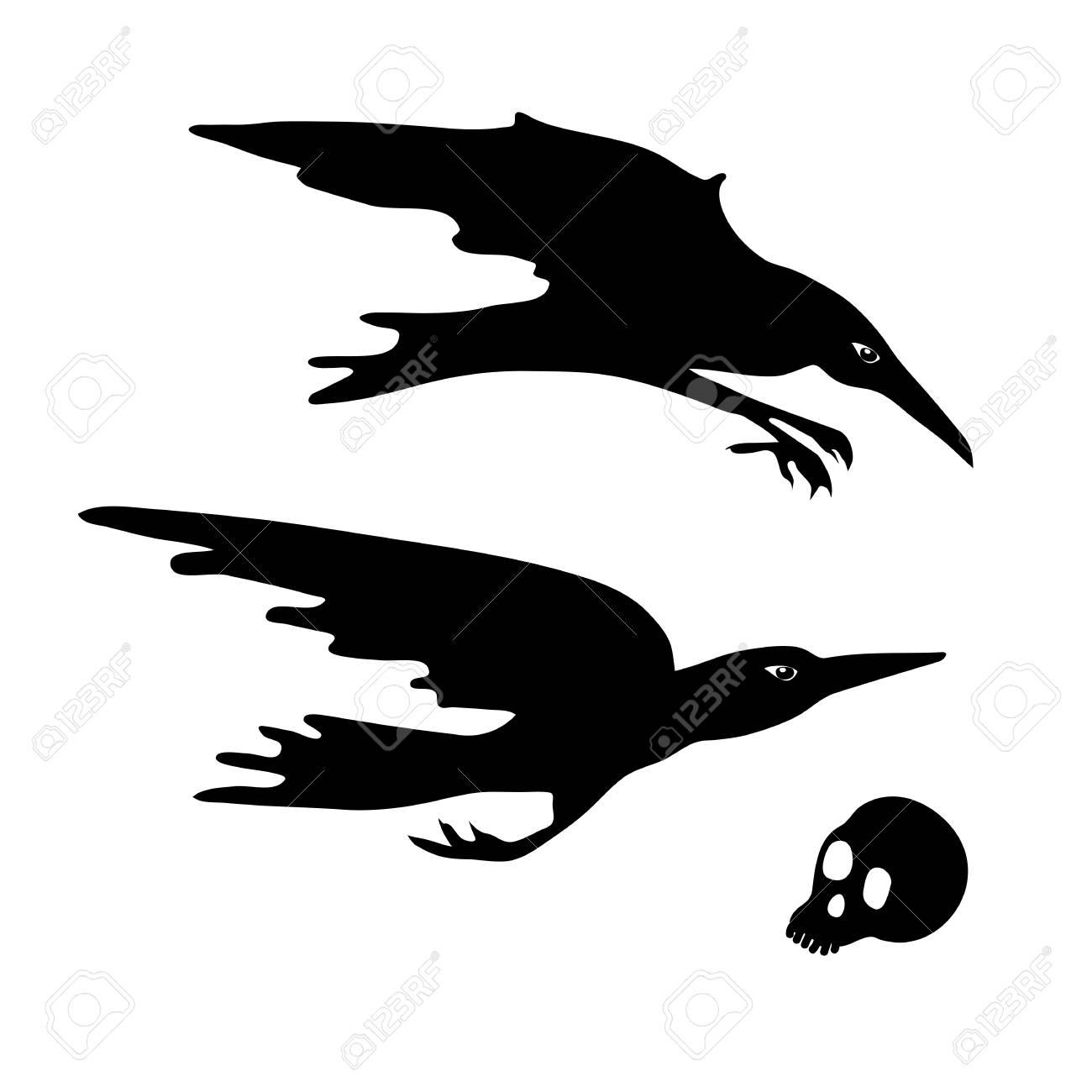 diving flying crows halloween element design stock vector