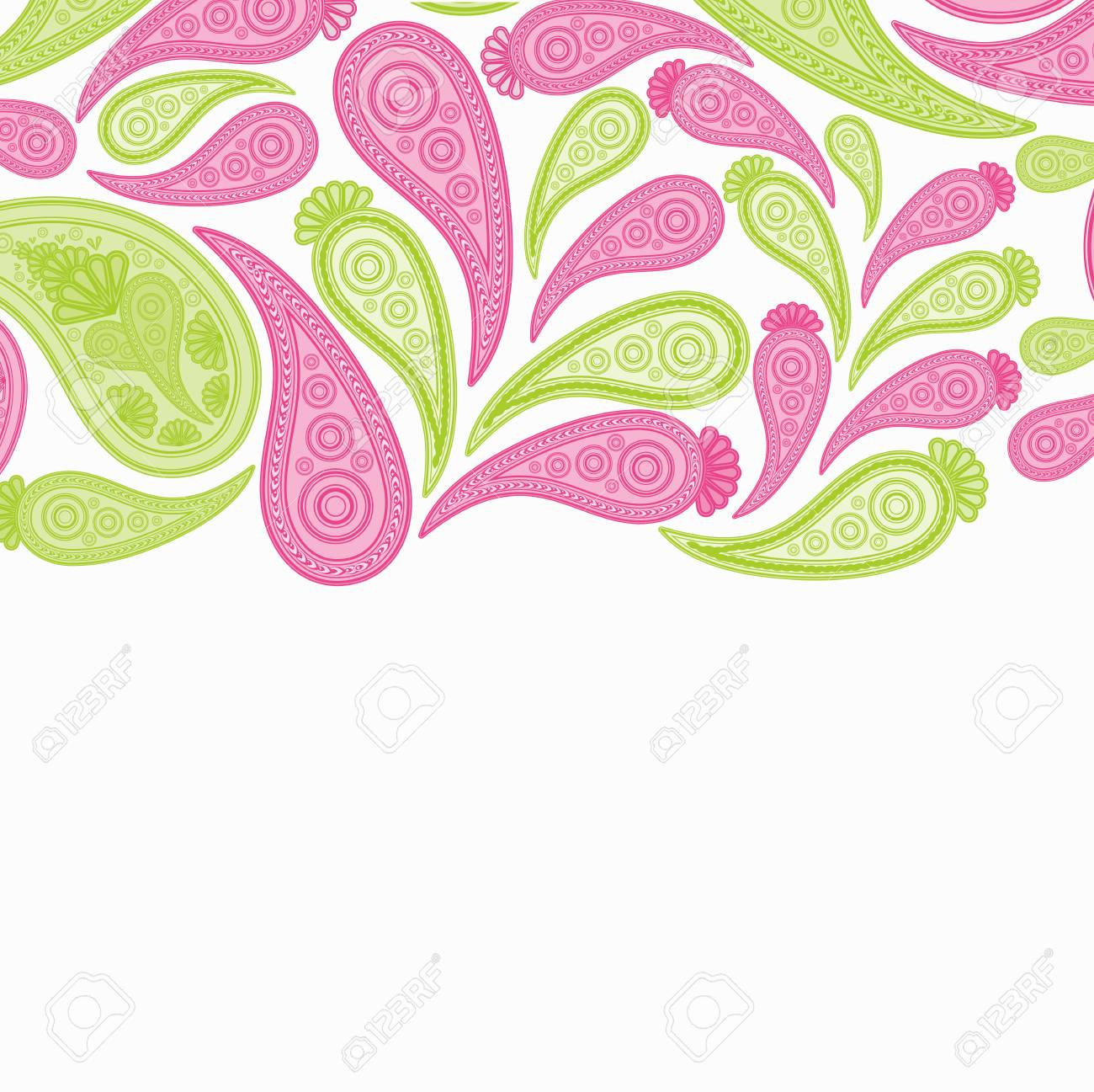 Paisley Pink And Green Design Pattern Royalty Free Cliparts Vectors And Stock Illustration Image 85619430