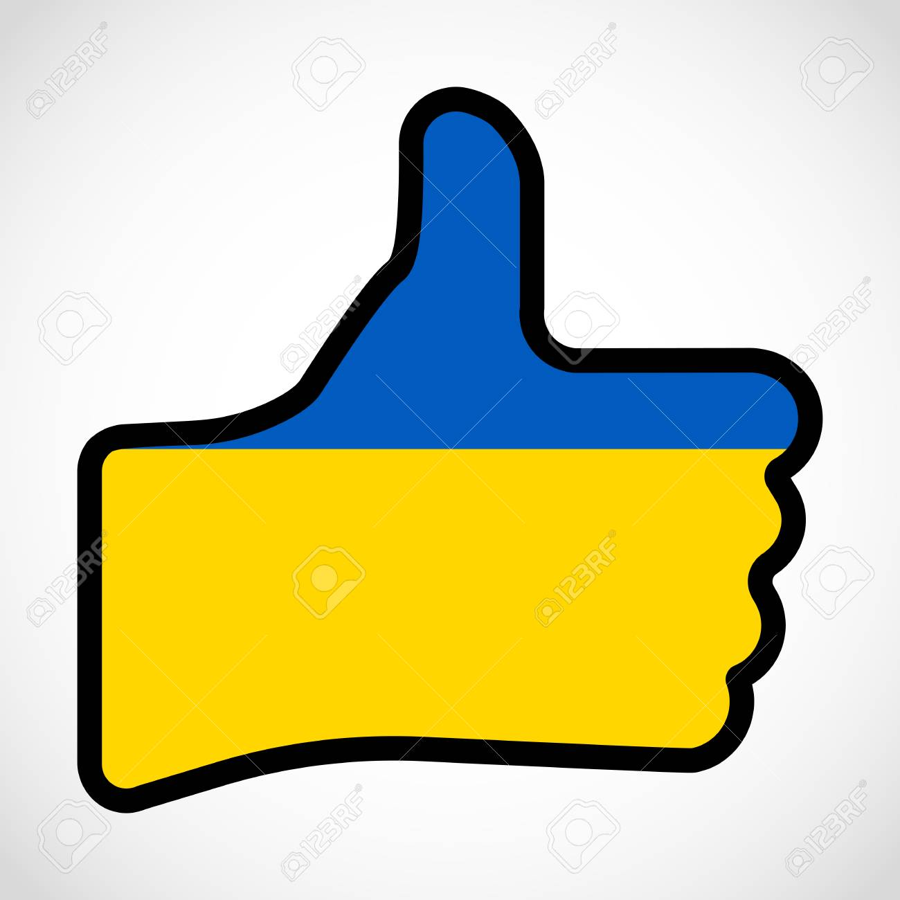 Flag Of Ukraine In The Shape Of Hand With Thumb Up Gesture Of