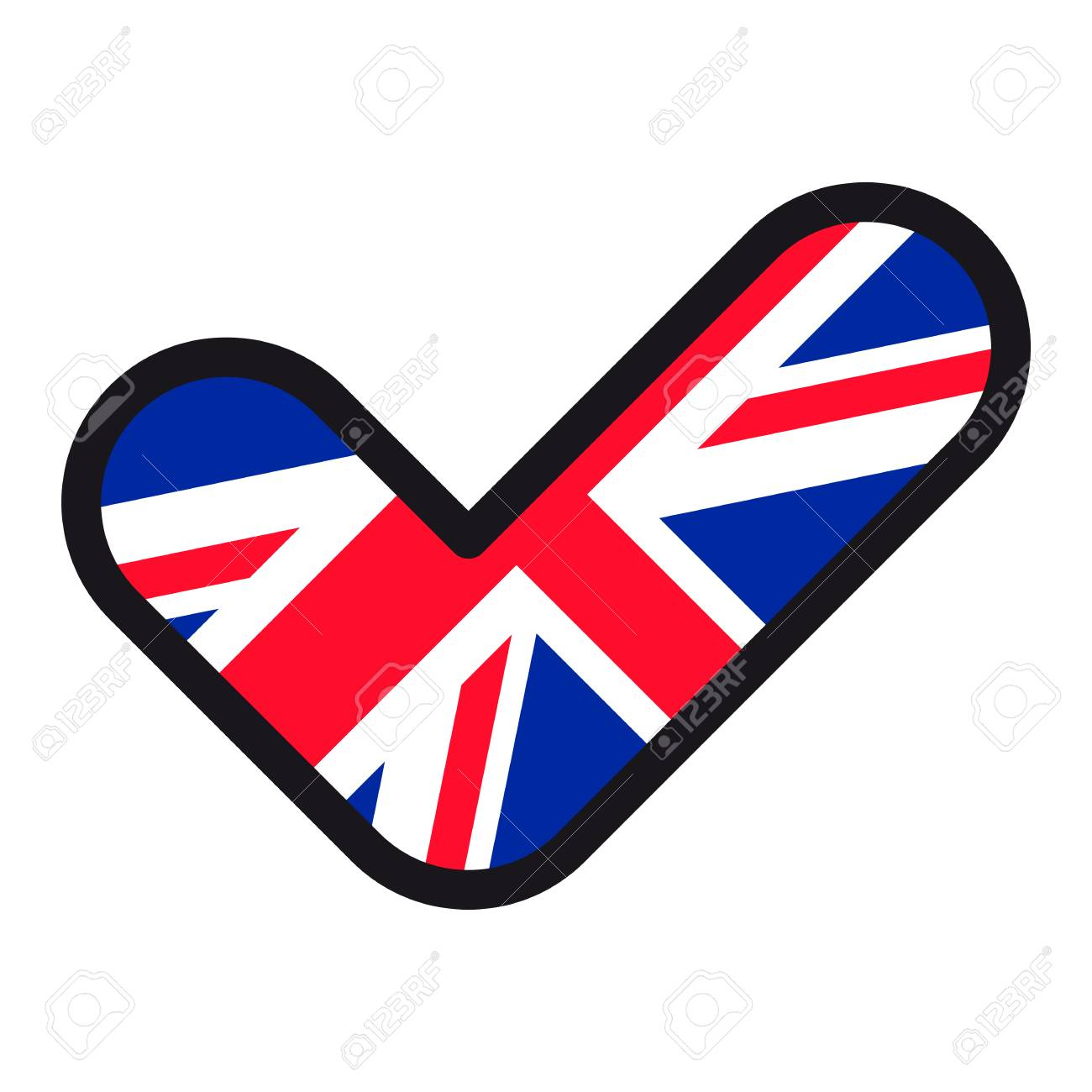Flag Of Uk In The Shape Of Check Mark Vector Sign Approval