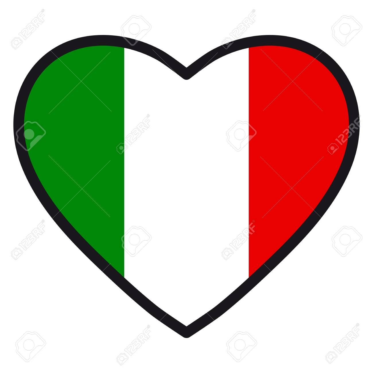 Flag Of Italy In The Shape Of Heart With Contrasting Contour