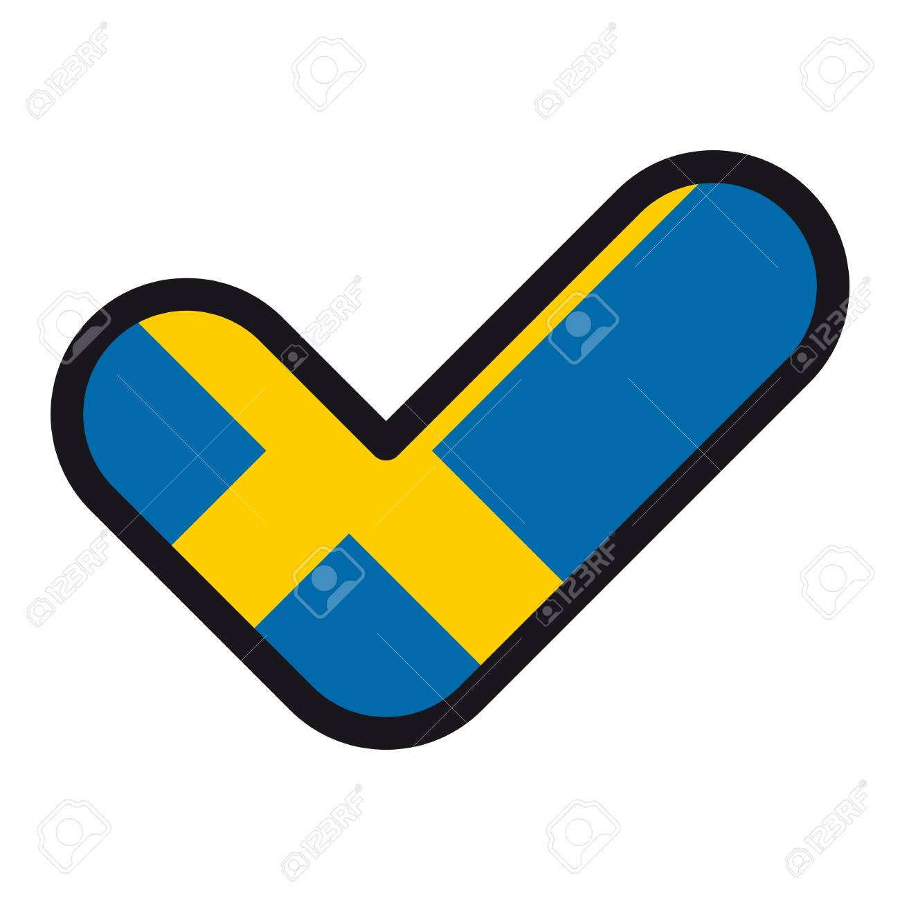 Flag Of Sweden In The Shape Of Check Mark Vector Sign Approval