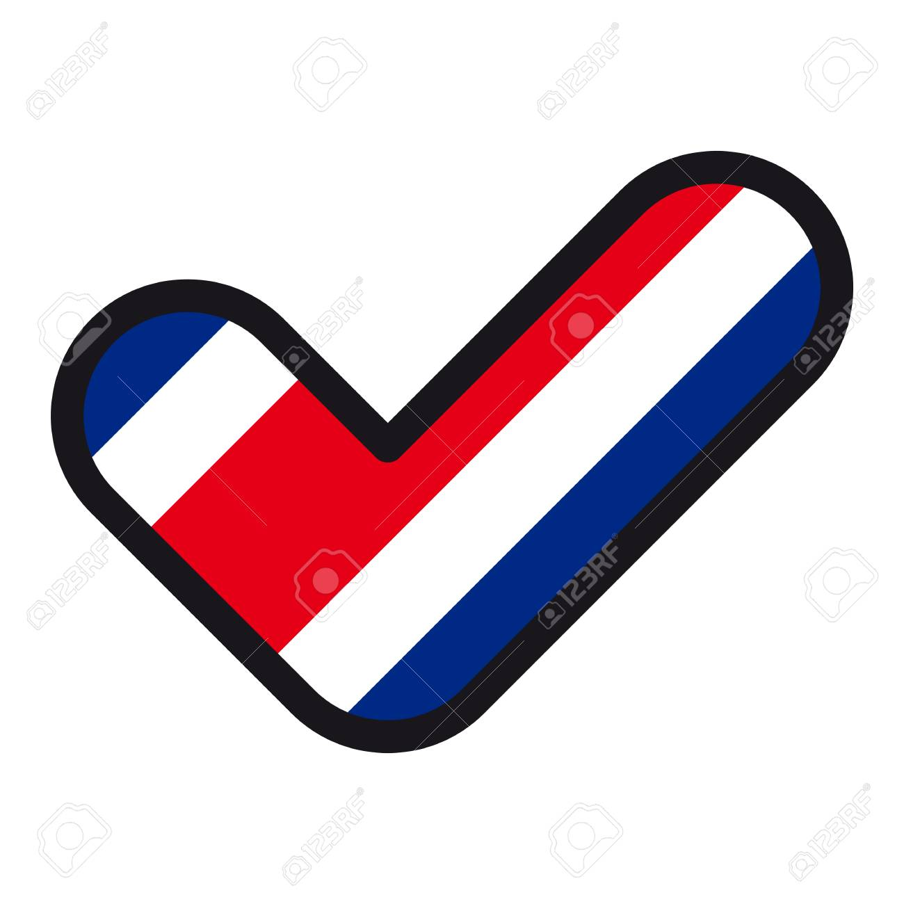 Flag Of Costa Rica In The Shape Of Check Mark Vector Sign Approval