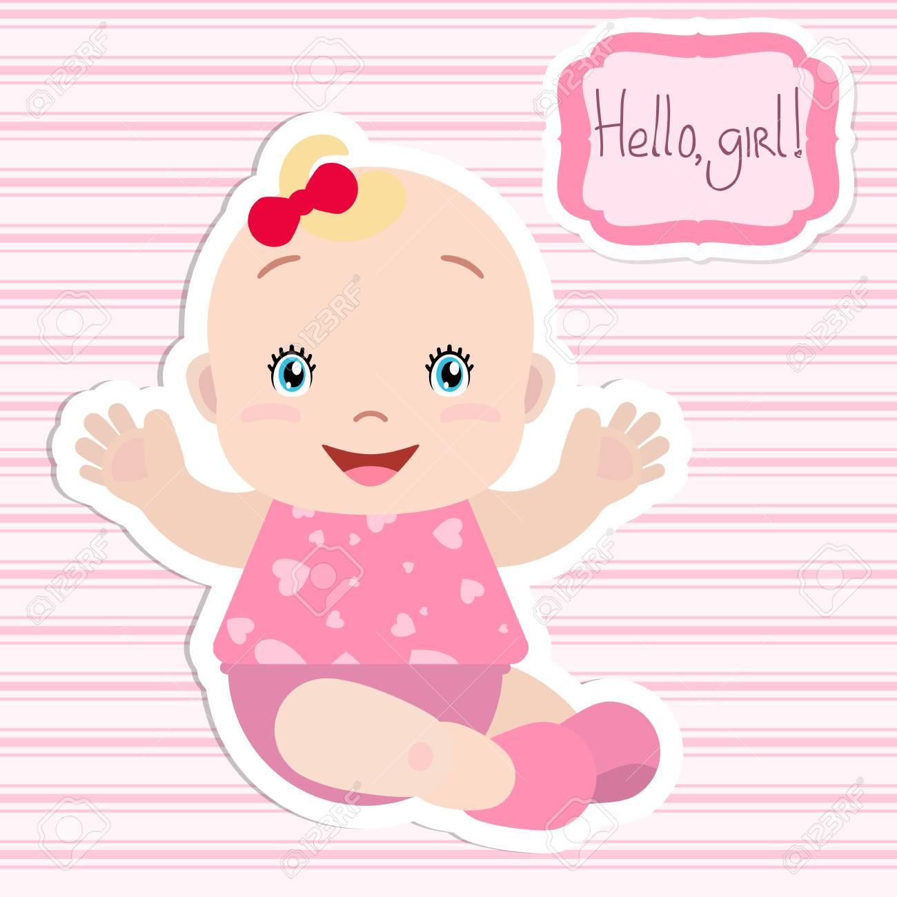 Niña Sentada Tendiendo Las Manos Sonriendo Un Marco Con Una Inscripción Tarjeta Invitación Baby Shower