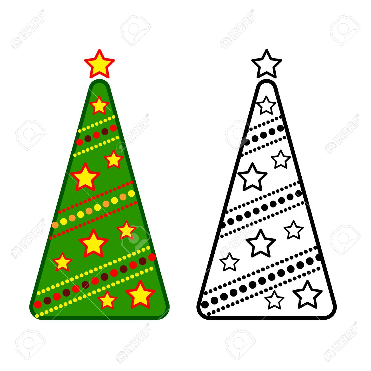 Christmas Tree, Vector Line Icons On A White Background, Coloring ...
