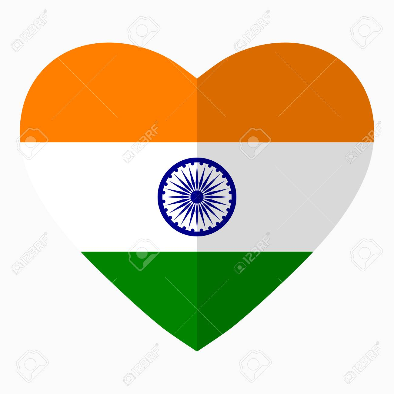Flag Of India In The Shape Of Heart Flat Style Symbol Of Love