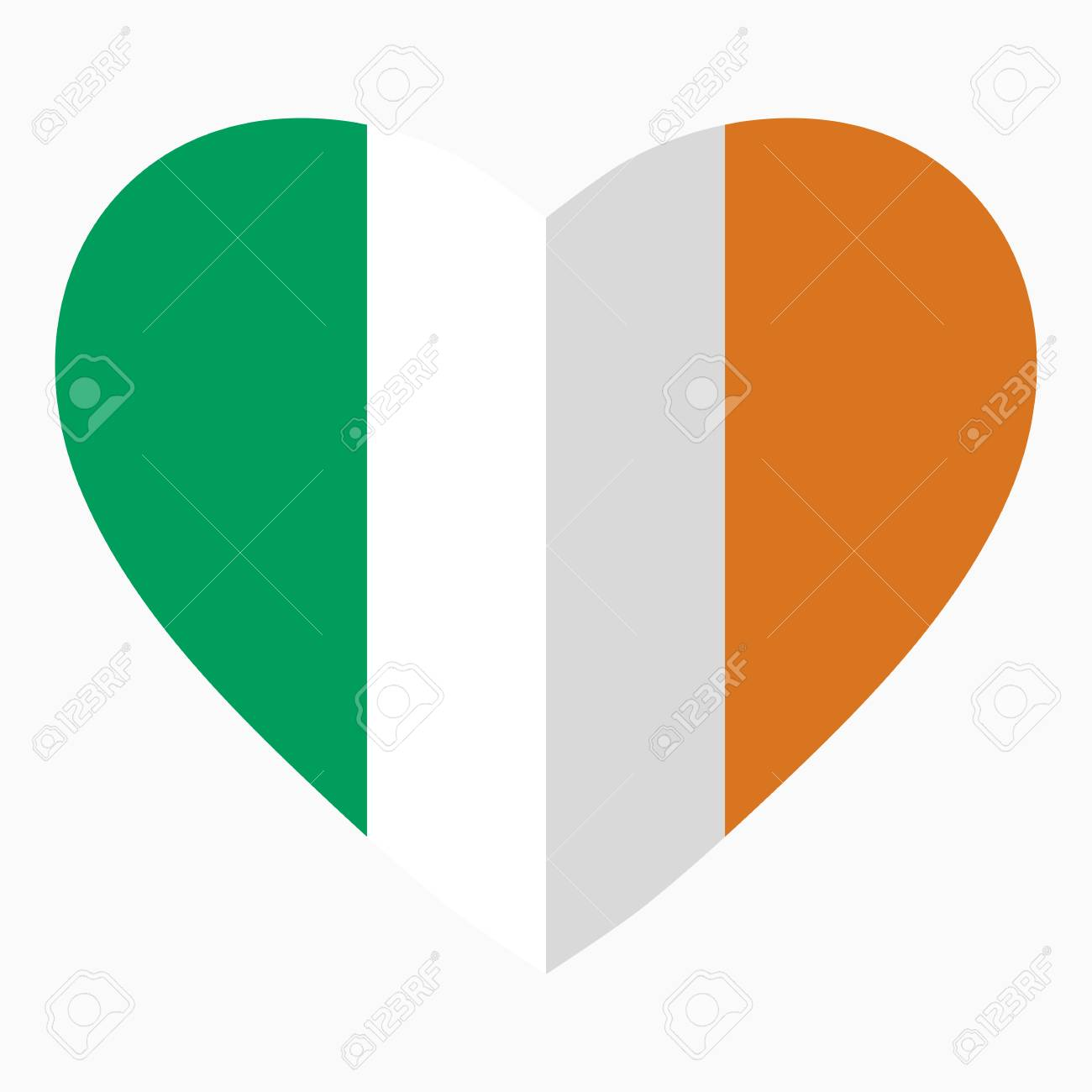 Flag Of Ireland In The Shape Of Heart Flat Style Symbol Of