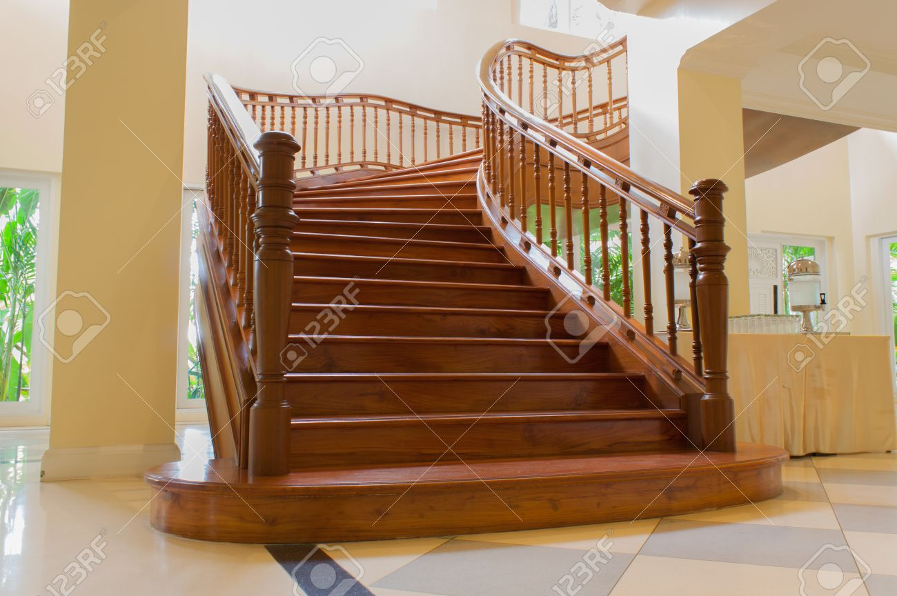 the wood stair is interior in the building this is a luxury style stock photo