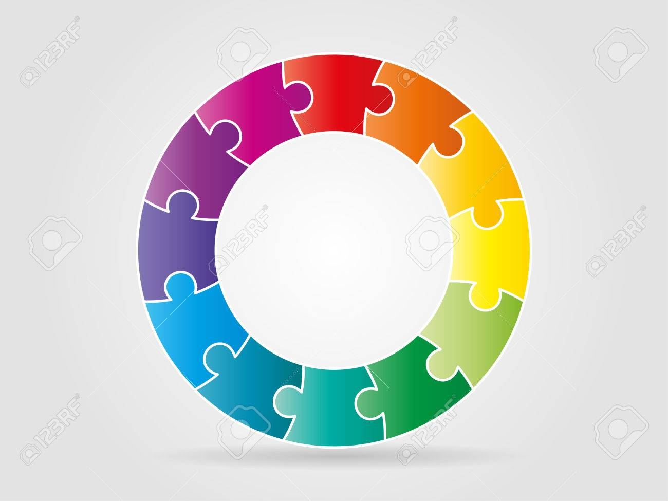 Colorful rainbow puzzle pieces forming a circle pattern - 30397514