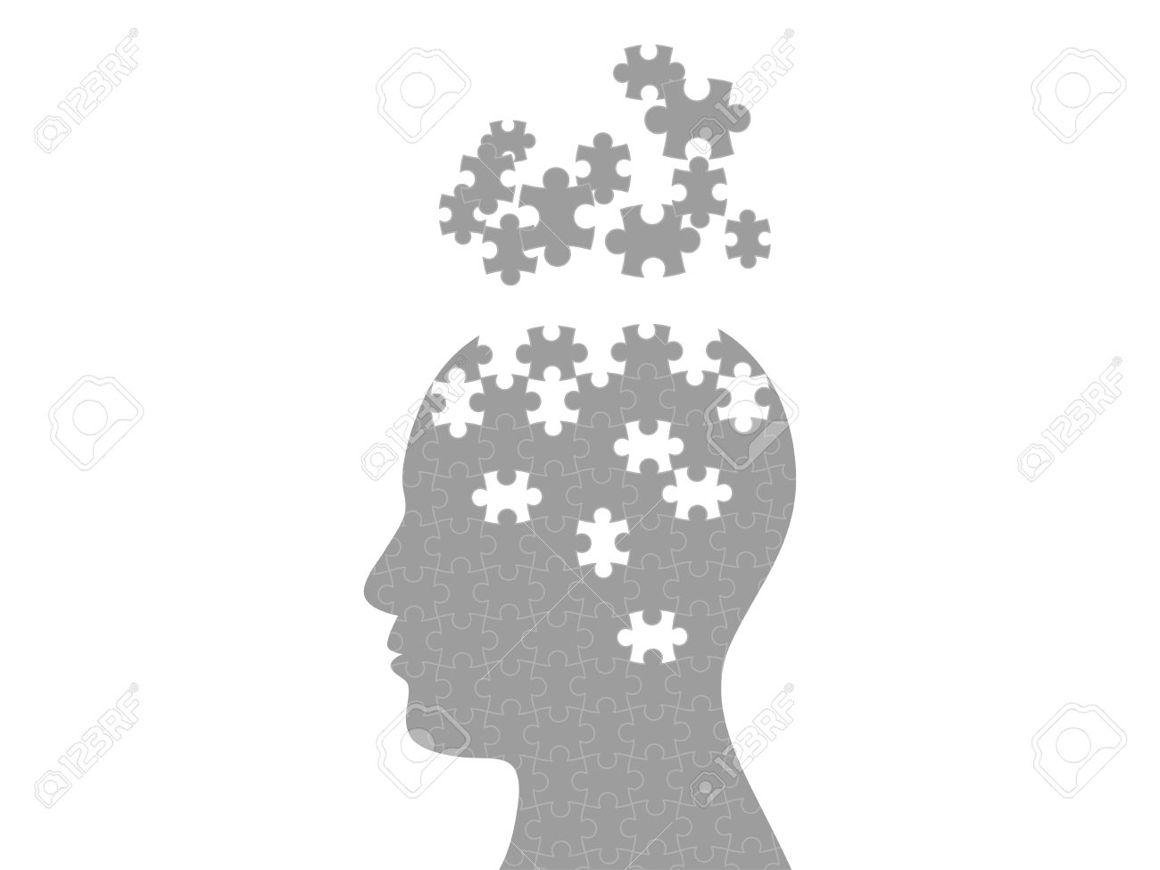 Puzzle head exploding mind graphic template - 30397521